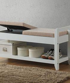 Loving this White Shoe Storage Bench on #zulily! #zulilyfinds