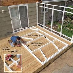 Add an enclosed screen porch to your house using basic framing and deck building techniques. #deckbuilding