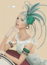 Cross stitch chart  Art Deco Lady  - 105     FlowerPower37-UK-..