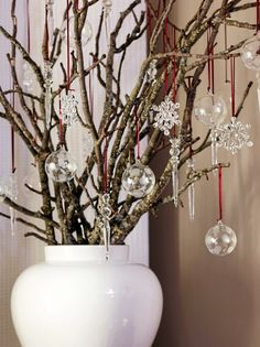 branches with clear glass ornaments winter decor