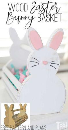 Wood Bunny Easter Basket - Her Tool Belt Bunny Crafts, Easter Crafts For Kids, Easter Ideas, Diy Craft Projects, Wood Projects, Diy Easter Decorations, Tool Belt, Easter Baskets, Easter Bunny