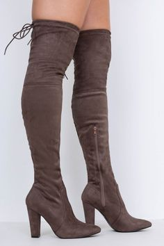 b0bc2d36ec0 The Bee s Knees Heeled Knee High Boots Taupe