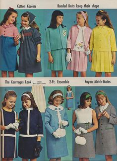 Costumes 1966 Girls Fashion waist dresses - Page 41 of the 1966 John Plain Spring and Summer Supplement. Retro Mode, Mode Vintage, Vintage Girls, Vintage Children, Vintage Outfits, 60s And 70s Fashion, Retro Fashion, Girl Fashion, Vintage Fashion