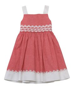 Another great find on #zulily! Coral Pin Dot Daisy Trim Dress - Toddler & Girls #zulilyfinds