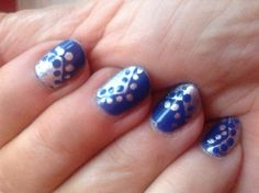 silver and blue dots