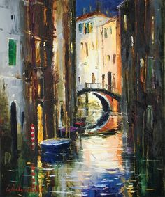 Venice Canal by Gleb Goloubetski, Oil on Canvas, 60cmx50cm THIS PAINTING IS SOLD