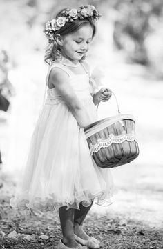 Rustic wooden apple basket with lace as flower girl basket. | Kim James photo