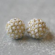 white and gold studs – Erin McDermott Jewelry