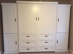 Our customer from Myrtle Beach, South Carolina chose the BedderWay Queen Dresser Cabinet Face Murphy bed in maple painted white along with two side cabinets.
