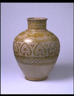 Earthenware jar with decoration of fishes and palmettes in yellow lustre, Egypt (probably Cairo), The V&a, Victoria And Albert Museum, Earthenware, Islamic Art, Metal Working, Objects, Pottery, Egyptians, Cairo Egypt