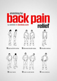 Back Pain Relief Workout Fitness Exercise Fitness Workouts, Yoga Fitness, At Home Workouts, Health Fitness, Chair Exercises, Stretching Exercises, Stretches Before Workout, Morning Stretches, Workout Exercises