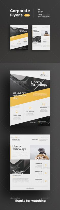 Corporate flyer's made in clean and simple style.
