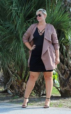 Plus Size Trench Cardigan - Mocha (Sizes 18 - 24) - Society+