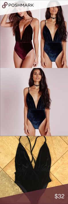 NWT navy blue velvet plunging bodysuit True to size. Straps are adjustable. I only have the blue available not the red. ❗️Price firm unless bundled❗️✈️ ships same or next day ✈️ boutique Tops