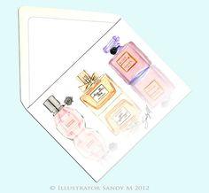 Perfume illustration by Illustrator SANDY M {blog: Ooh La Frou Frou}