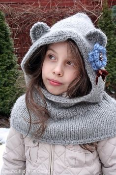 This purchase is for the knitting PATTERN ONLY of the Finnie Bear Hooded Cowl pictured here.    Keeping warm, looking cool - designed for