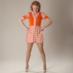 Vintage 1960s Sailor Print Dress #vintage #sailor #orange #mini #dress #1960s #madmen @Etsy