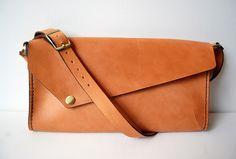 2e2021e9e480 Tan Leather Shoulder Bag No. 2 Handstitched Tan Leather Shoulder Bag with  adjustable leather strap