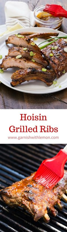 Tender, tasty ribs just got easier! These Asian-flavored Hoisin Grilled Ribs start out in the slow cooker and finish on the grill for juicy meat and perfect char every time! ~ http://www.garnishwithlemon.com