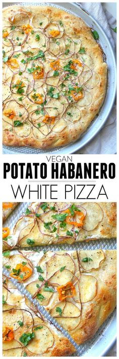 Vegan Potato Habanero White Pizza - This Savory Vegan - Vegan Recipes Vegan Pizza Recipe, Vegan Dinner Recipes, Vegetarian Recipes, Healthy Recipes, Vegan Desserts, Vegan Vegetarian, Dessert Recipes, Whole Foods, Whole Food Recipes