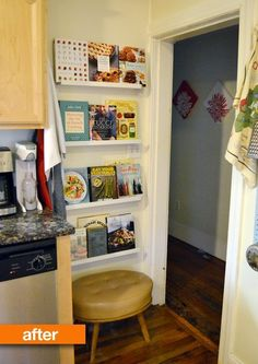 Floating picture frame rails are strong enough to display your favorite cookbooks on kitchen walls.