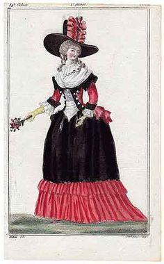 Magasin des Modes Nouvelles 1787 cahier n°34, plate n°2, Mitan, 18th Century Dress