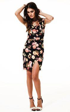 Lookbook Raizz Primavera-Verão 14 - Vestido estampa floral coral,  com fenda