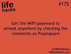 1000 Life Hacks - Get the WIFI password to almost anywhere by checking the comme. 1000 Life Hacks - Get the WIFI password to almost anywhere by chec. Hack My Life, Simple Life Hacks, Useful Life Hacks, Life Hacks Websites, Life Cheats, The More You Know, Good To Know, 1000 Lifehacks, Blogging