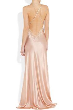 Jenny Packham | Lace-trimmed silk-satin chemise - lingerie stores, all about lingerie, lingerie xxl *ad