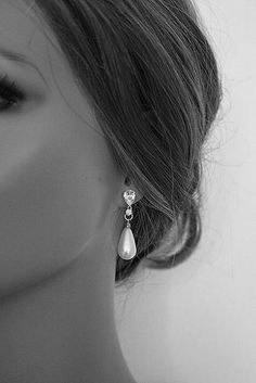 KATJA  Vintage Inspired Diamante Pearl Earrings by portobello, $49.00 #elegantearrings