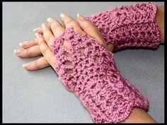Crochet : Guantes sin dedos (Mitones) 2 - YouTube
