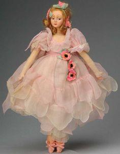 Lenci Dolls Petite lady ballerina, slender long-limbed lady doll with