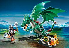 Chevalier avec grand dragon vert