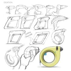 Simplify the power drill, by focusing on a drill's main functions and eliminating excess features that are not linked to the power drill's internal performance. Id Design, Sketch Design, Tool Design, Design Process, Perspective Sketch, Sketching Techniques, Industrial Design Sketch, Medical Design, Cool Sketches