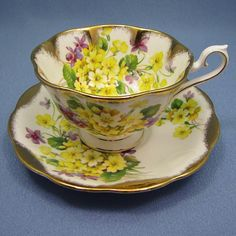 ROYAL Albert Yellow Primrose Tea Cup and Saucer, Grand Acon Heavy GOLD Tea Cup and Saucer, 1950's English Teacup Set, Low Avon BEAUTY by Thinkilikeit on Etsy