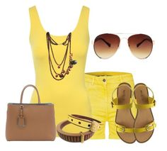 """Yellow"" by lchar ❤ liked on Polyvore featuring Barbour, Jane Norman, Fendi, ALDO and MANGO"