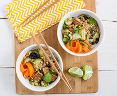 This Thai Tofu and Noodle Salad recipe is perfect for summer! It's made with tofu, rice vermicelli noodles, cucumbers, carrots, and a spicy soy dressing.