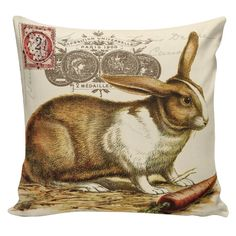 Easter Home Decor Pillow Cushion Spring Rabbit French Burlap Cotton Throw Pillow Cover SP-113