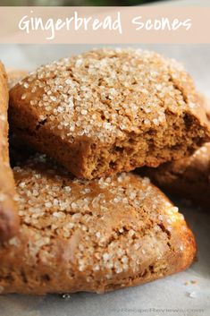 Fill your holiday kitchen with the wonderful ginger/cinnamon aroma of these tender and flavorful Gingerbread Scones. Just Desserts, Delicious Desserts, Dessert Recipes, Yummy Food, Tasty, Breakfast Bake, Breakfast Items, Baking Recipes, Cookie Recipes