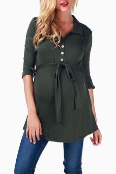 Olive Sash Tie Maternity/Nursing Top #maternity #fashion