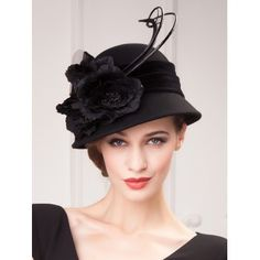 Outdoor Flowers Velvet Band Feather Cloche Hat