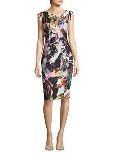 4a3e767c Printed Asymmetric Sheath Dress by Black Halo at Gilt Sheath Dress, Bodycon  Dress, Cap