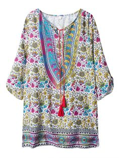 Sale 24% (18.48$) - Bohemian Women Printed Tassels Loose Mini Dress