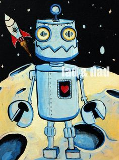 Robot Outer Space Paintings - Art for Kids Exterior space. Robot Painting, Space Painting, Painting For Kids, Art For Kids, Robots Drawing, Space Drawings, Art Plastique, Teaching Art, Elementary Art