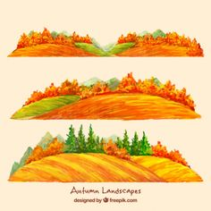 Autumnal watercolor landscapes with trees Free Vector