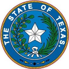 """Texas State Seal   Original lone star design (1836) as the republic of Texas.  Branches added 1839 Oak branch left, olive branch right. Current seal adopted 1845 when Texas became state, replacing the word """"Republic""""  with the word """"State""""."""