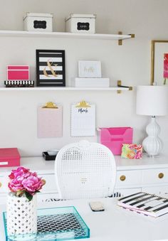 See this home office inspired by Kate Spade with gold, pink and black...easy and inexpensive decor ideas!