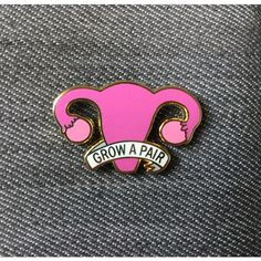 Grow a pair of ovaries enamel pin Uterus enamel pin Feminist enamel... ($10) ❤ liked on Polyvore featuring jewelry, brooches, enamel brooches, pin brooch, gold plated jewellery, pin jewelry and gold plated jewelry