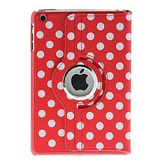 Hot Red Lovely Dot 360 Degree Rotating Stand Cover PU Leather IPad Case for iPad Mini, iPad 2/3/4 (Color Optional)