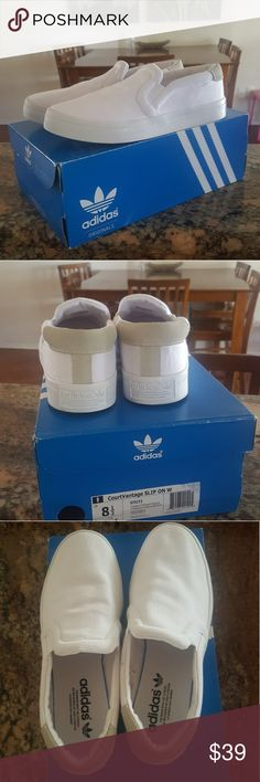 Adidas courtvantage Slip on walking shoes They're women's 8.5 w Worn once.  Still in excellent condition adidas Shoes Flats & Loafers
